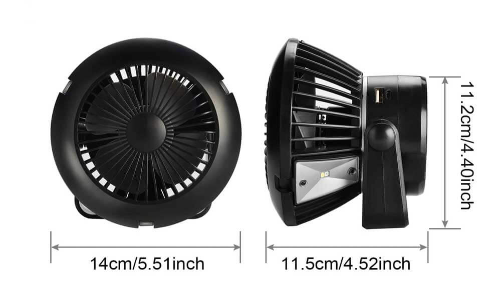 Dimensions of Solar Powered Fan For Camping
