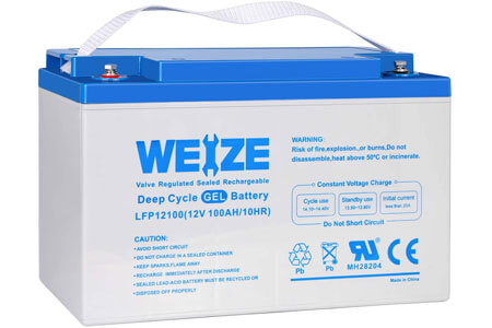 Weize 12V 100AH Pure Gel Deep Cycle Rechargeable Battery