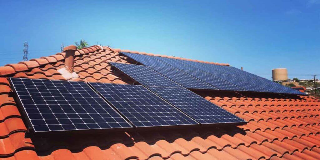 Tile Roof WIth Solar Panels