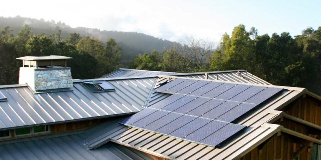 Wooden Roof With Solar Panels